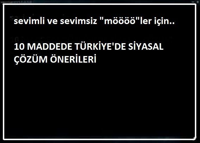 """Sevimli ve sevimsiz """"MÖÖÖ""""ler için 10 Maddede Türkiye'de Siyasal Çözüm"""